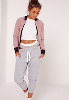 Missguided Petite Scuba Bomber Jacket Pink