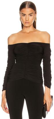 Norma Kamali Off Shoulder Slinky Top in Black | FWRD