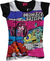 Monster High Official Girls Printed Short Sleeve Top Age 6 to