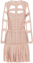 Herve Leger Silk-trimmed Fringed Cutout Bandage Dress - Blush