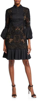 Marchesa Laser-Cut Lace Shirtdress