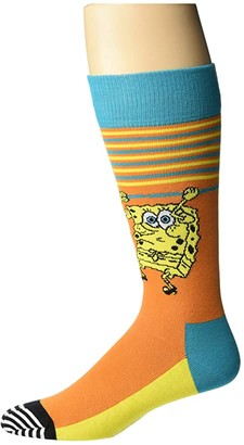 Happy Socks SpongeBob Let's Work It Out Sock (Medium Orange) Men's Crew Cut Socks Shoes