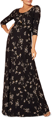Tiffany Rose Maternity Floral-Print Scoop-Neck 3/4-Sleeve Maxi Dress