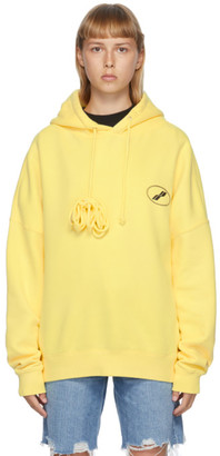 we11done Yellow Iridescent Logo Hoodie
