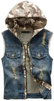 Kule Men's Boy Casual Denim Washed Vest Jacket with Hoodie805