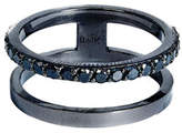 Lana Reckless Stacked Ring with Black Diamonds, Size 7