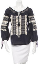 Figue Fringe-Trimmed Embroidered Top