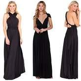 Manyis Women Evening Dress Convertible Multi Way Wrap Bridesmaid Formal Long Dresses L