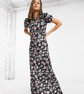 Asos Tall DESIGN Tall velvet floral maxi tea dress in purple