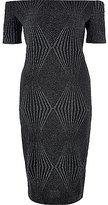 River Island Womens Black sparkly bardot bodycon midi dress