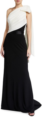 Tadashi Shoji Two-Tone One-Shoulder Crepe Gown w/ Bow Detail
