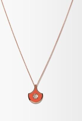 Selim Mouzannar Diamond & 18kt Rose-gold Pendant Necklace - Womens - Orange
