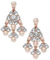 Charter Club Pavé Imitation Pearl Chandelier Earrings, Only at Macy's