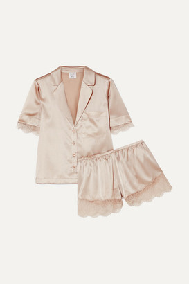 CAMI NYC Sahar Lace-trimmed Stretch-silk Charmeuse Pajama Set - Neutral