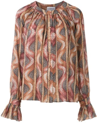 Olympiah Ruched Stone Pattern Blouse
