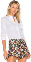 RED Valentino Ruffle Button Down in White