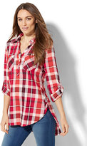 New York & Co. Soho Soft Shirt - Side-Button Hi-Lo Tunic - Metallic Plaid