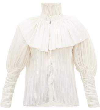 Rodarte Caped High-neck Plisse Voile Blouse - Womens - White