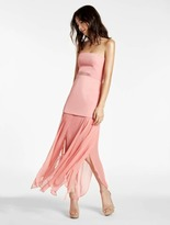 Halston Strapless Crepe Georgette Combo Gown