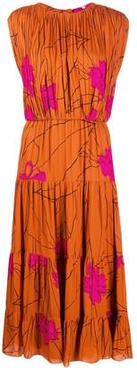 Johanna Ortiz Pleated Floral Midi Dress