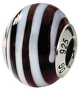 Murano Prerogatives Sterling Brown/White Italian Glass Bead