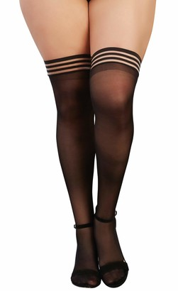 Dreamgirl Women's Plus Size Sheer Thigh High Stockings with Elastic Top