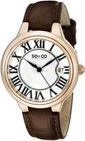 SO & CO New York Women's 5052L.2 Madison Quartz Date Brown Leather Strap Watch