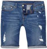 River Island Mens Big and tall blue ripped denim shorts
