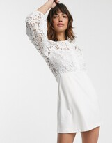 French Connection round neck button down lace mini dress in summer white