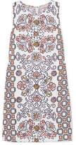 Tory Burch Hicks Garden Printed Linen-blend Mini Dress - Orange