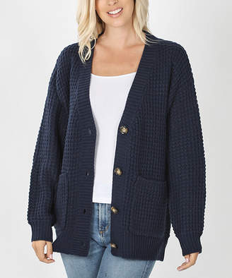 Lydiane Women's Cardigans NAVY - Navy Waffle-Knit Button-Up Pocket Cardigan - Women
