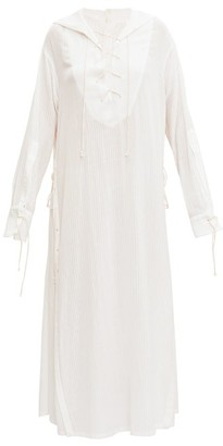 Ann Demeulemeester Sailor-collar Laced Gauze Shirt Dress - White
