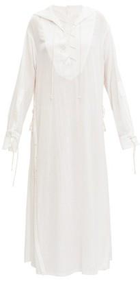 Ann Demeulemeester Sailor-collar Laced Gauze Shirt Dress - Womens - White