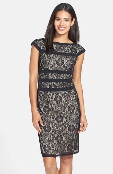 Adrianna Papell Lace Sheath Dress (Regular & Petite)