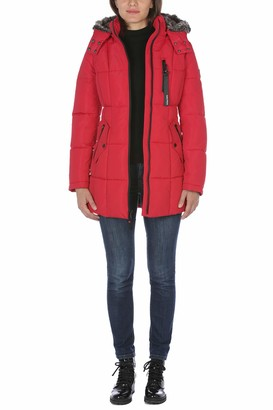 Nautica Women's Puffer with Faux Fur Lined Hood Down Alternative Coat