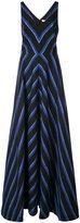 Halston striped floor-length dress