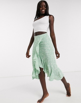 Miss Selfridge ditsy floral midi skirt in mint green
