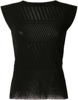 Issey Miyake sheer detail T-shirt - women - Cotton/Nylon/Polyurethane - 2