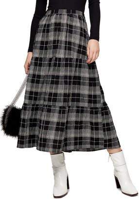 Topshop Check Tiered Midi Skirt