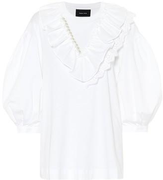 Simone Rocha Embellished cotton-blend top