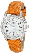 Invicta Women's 16338 Angel Crystal-Accented Stainless Steel Watch with Orange Leather Strap