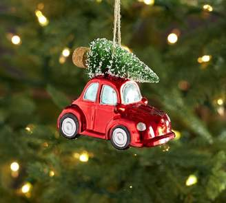 Pottery Barn Mercury Glass Beetle Car with Tree Ornament