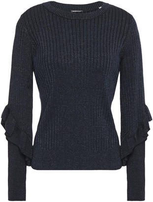 Elie Tahari Hope Ruffled Metallic Ribbed-knit Sweater