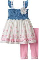 Nannette Baby Girl Smocked Chambray Flower Tunic & Leggings Set