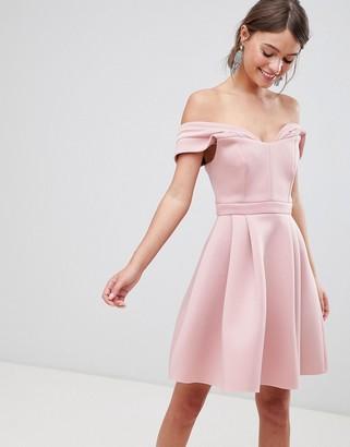 ASOS DESIGN Bardot cold shoulder mini prom dress