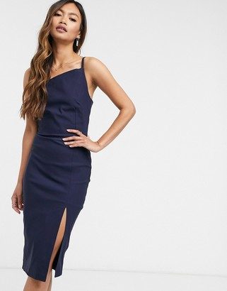 Vesper bodycon midi dress with split in navy