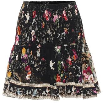 Camilla Floral smocked silk miniskirt
