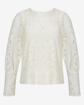 Express Lace Overlay Blouson Sleeve Top