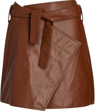 Divine Heritage Vegan Leather Mini Wrap Skirt