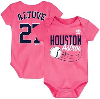 Majestic Newborn & Infant Jose Altuve Pink Houston Astros Baby Slugger Name & Number Bodysuit
